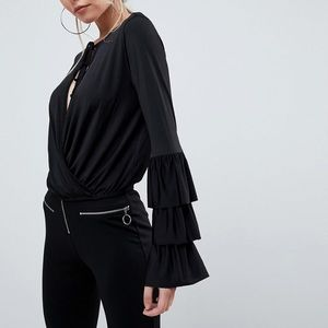 ASOS Wrap Front Top with Frill Sleeves & Tie Neck
